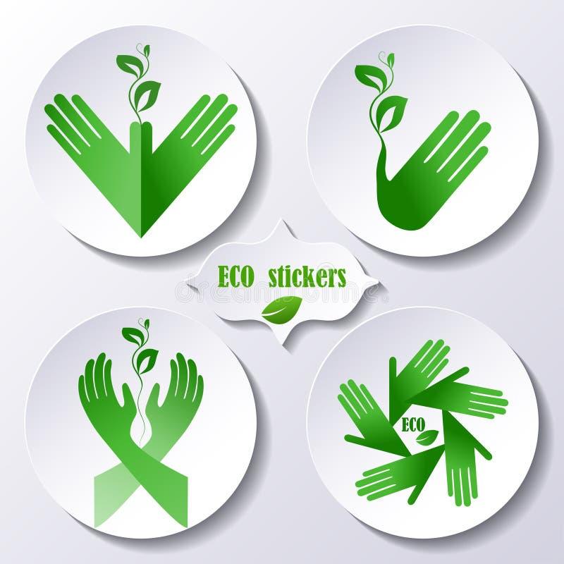 Σύνολο αυτοκόλλητων ετικεττών, προστασία του περιβάλλοντος εικονιδίων απεικόνιση αποθεμάτων