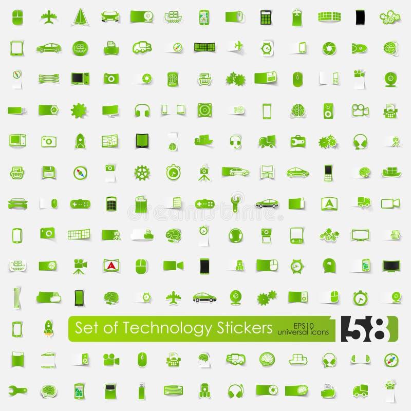 Σύνολο αυτοκόλλητων ετικεττών τεχνολογίας ελεύθερη απεικόνιση δικαιώματος