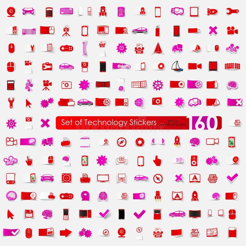 Σύνολο αυτοκόλλητων ετικεττών τεχνολογίας απεικόνιση αποθεμάτων
