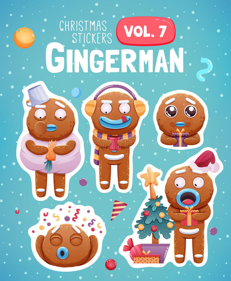 Σύνολο αυτοκόλλητων ετικεττών Χριστουγέννων με τα εκφραστικά μπισκότα ατόμων μελοψωμάτων ελεύθερη απεικόνιση δικαιώματος