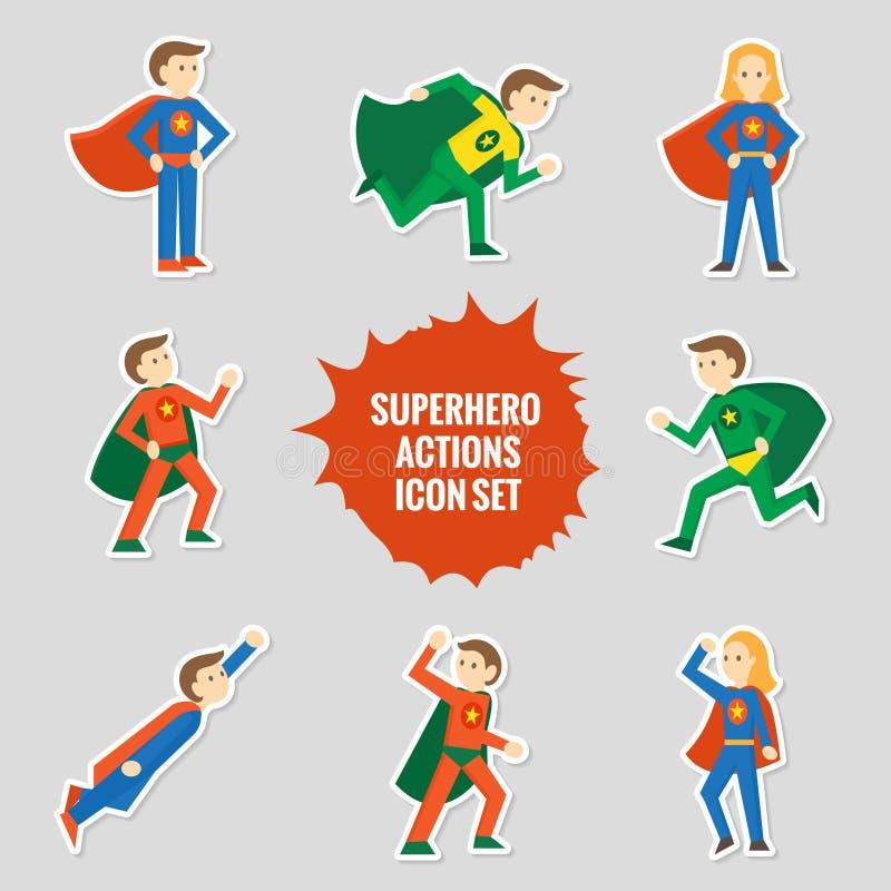 Σύνολο αυτοκόλλητων ετικεττών superheroes απεικόνιση αποθεμάτων
