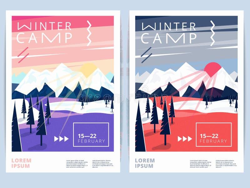 Σύνολο αφίσας ή ιπτάμενου στρατόπεδων χειμερινής πεζοπορίας διανυσματική απεικόνιση