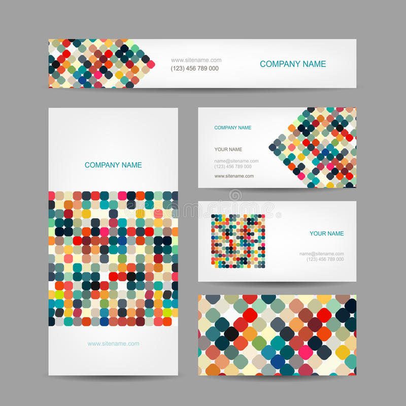 Σύνολο αφηρημένου δημιουργικού σχεδίου επαγγελματικών καρτών διανυσματική απεικόνιση