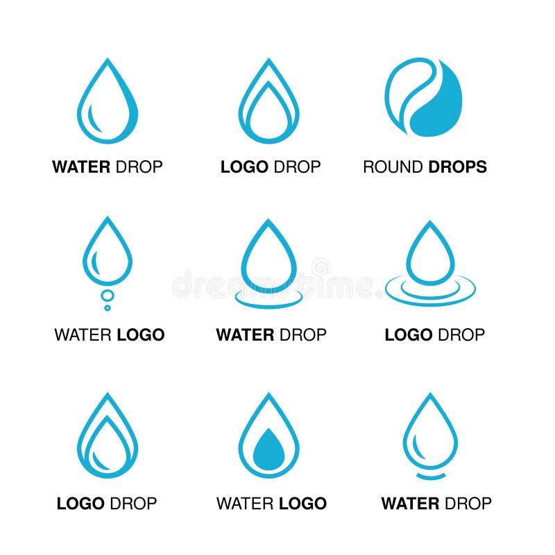 Σύνολο αφηρημένου μπλε σχεδίου λογότυπων νερού, εμβλήματα γραμμών πτώσης και πτώσης γύρω από το σύμβολο ελεύθερη απεικόνιση δικαιώματος