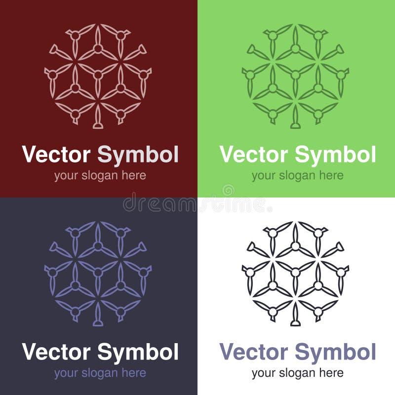 Σύνολο αφηρημένου πράσινου, κόκκινου, μπλε και μαύρου άσπρου σχεδίου λογότυπων, εμβλήματα γραμμών για τα διάφορα κέντρα - οι κύκλ απεικόνιση αποθεμάτων