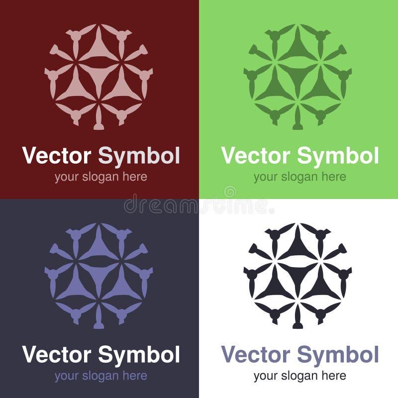 Σύνολο αφηρημένου πράσινου, κόκκινου, μπλε και μαύρου άσπρου σχεδίου λογότυπων, εμβλήματα για τα διάφορα κέντρα - οι κύκλοι, στρο ελεύθερη απεικόνιση δικαιώματος