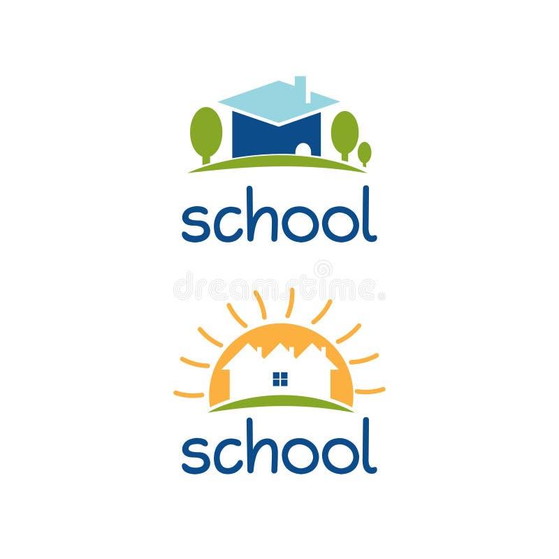 Σύνολο αφηρημένου σχεδίου λογότυπων προτύπων για το σχολικό θέμα ελεύθερη απεικόνιση δικαιώματος