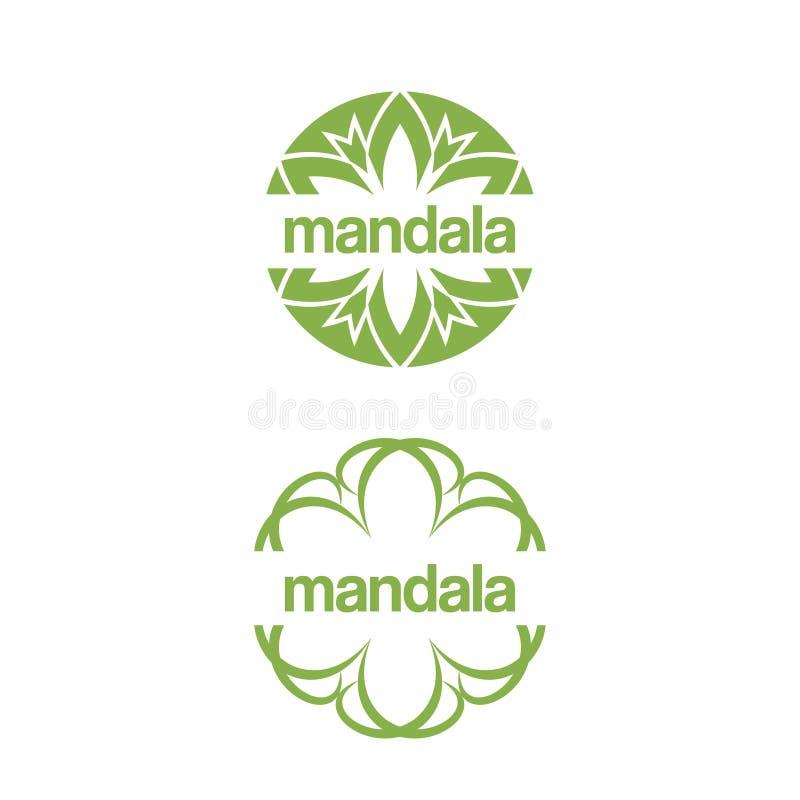 Σύνολο αφηρημένου σχεδίου λογότυπων προτύπων με το mandala φυλλώματος διανυσματική απεικόνιση