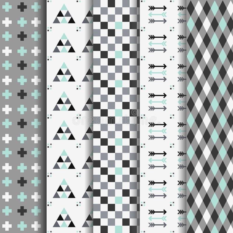 Σύνολο αφηρημένων γεωμετρικών των Αζτέκων άνευ ραφής σχεδίων διανυσματική απεικόνιση