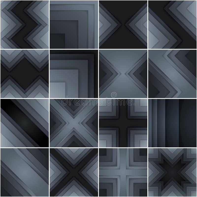 Σύνολο αφηρημένων γκρίζων και μαύρων μορφών ορθογωνίων ελεύθερη απεικόνιση δικαιώματος