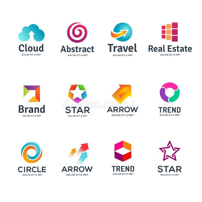Σύνολο αφηρημένων εικονιδίων επιχειρησιακών λογότυπων απεικόνιση αποθεμάτων