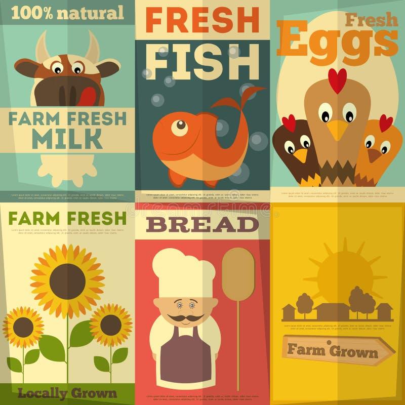 Σύνολο αφισών για τα οργανικά αγροτικά τρόφιμα ελεύθερη απεικόνιση δικαιώματος