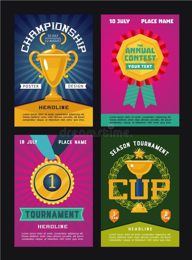 Σύνολο αφισών για τους ανταγωνισμούς με το τρόπαιο και τα βραβεία απεικόνιση αποθεμάτων