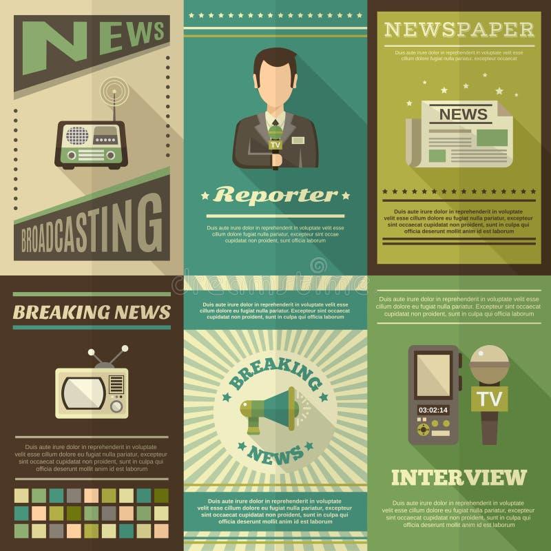 Σύνολο αφισών δημοσιογράφων απεικόνιση αποθεμάτων