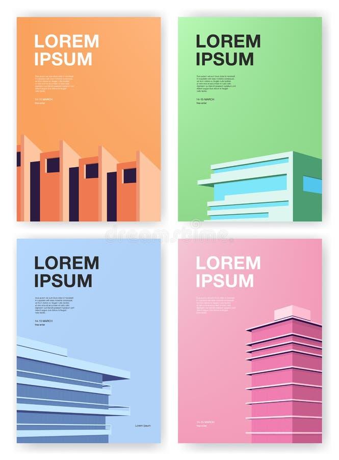 Σύνολο αφισών Υπόβαθρα με την αφηρημένη αρχιτεκτονική Κάθετη αφίσσα με τη θέση για το κείμενο Ζωηρόχρωμο διάνυσμα απεικόνιση αποθεμάτων