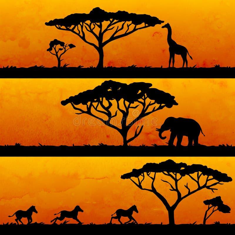 Σύνολο αφρικανικών εμβλημάτων ελεύθερη απεικόνιση δικαιώματος