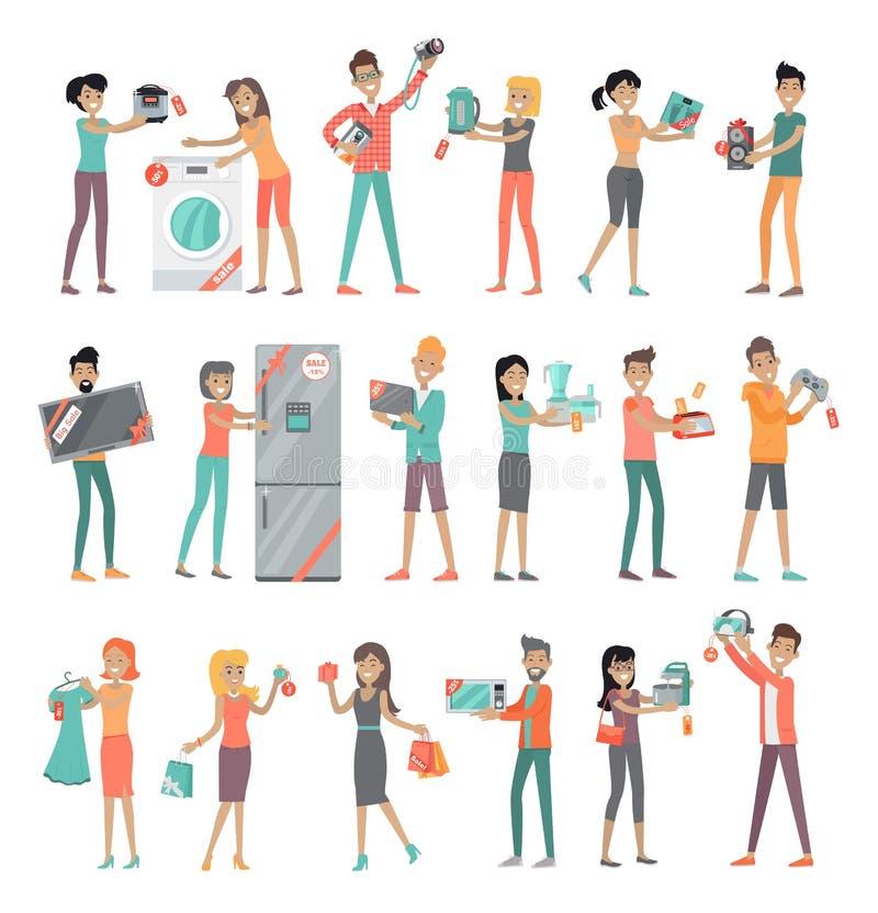 Σύνολο λαών στην πώληση καταστημάτων ηλεκτρονικής ελεύθερη απεικόνιση δικαιώματος