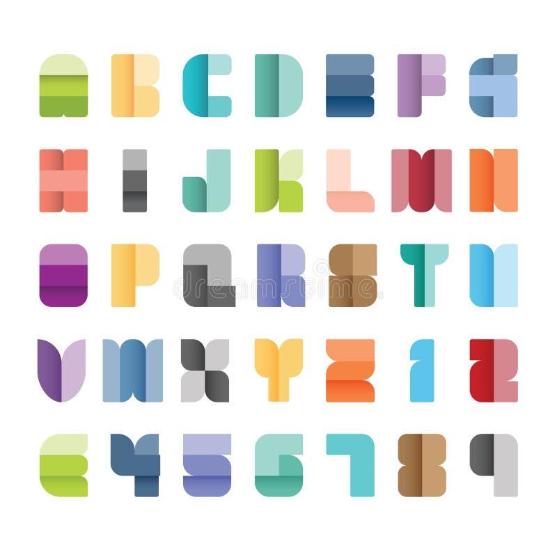 Σύνολο αλφάβητου, διανυσματική απεικόνιση ύφος χρώματος εγγράφου πηγών τύπων απεικόνιση αποθεμάτων