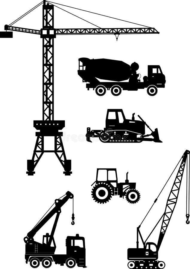 Σύνολο βαριών εικονιδίων μηχανών κατασκευής επίσης corel σύρετε το διάνυσμα απεικόνισης ελεύθερη απεικόνιση δικαιώματος