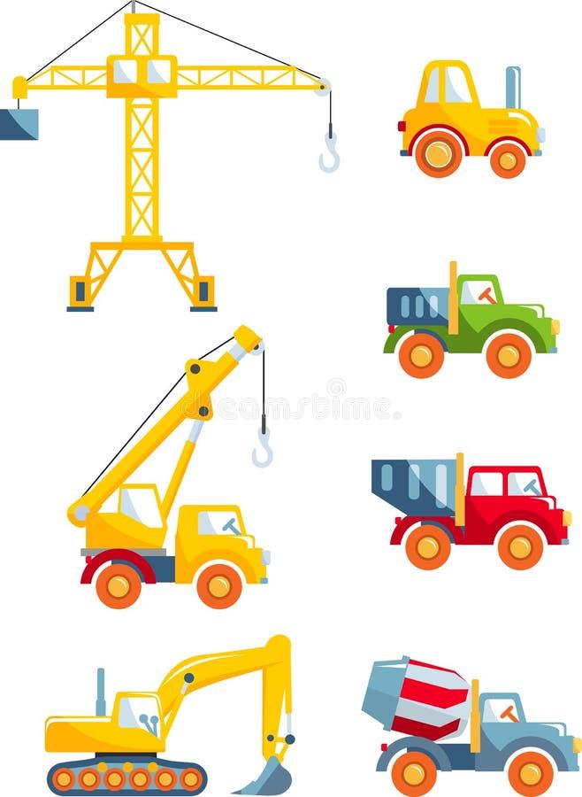 Σύνολο βαριών μηχανών κατασκευής παιχνιδιών σε ένα επίπεδο ύφος διανυσματική απεικόνιση