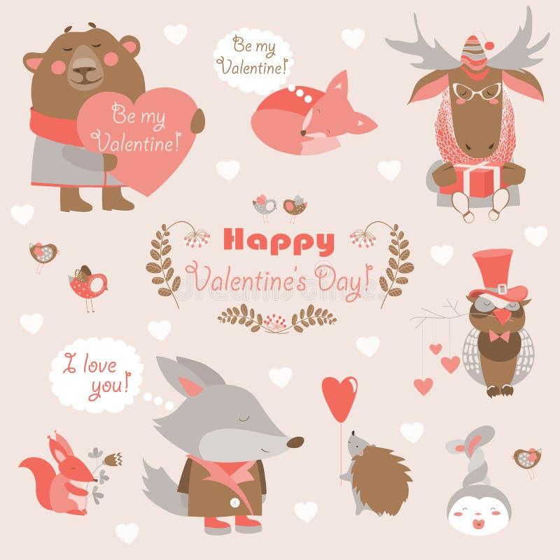 Σύνολο βαλεντίνων ζώων διασκέδασης με τις καρδιές και απεικόνιση αποθεμάτων