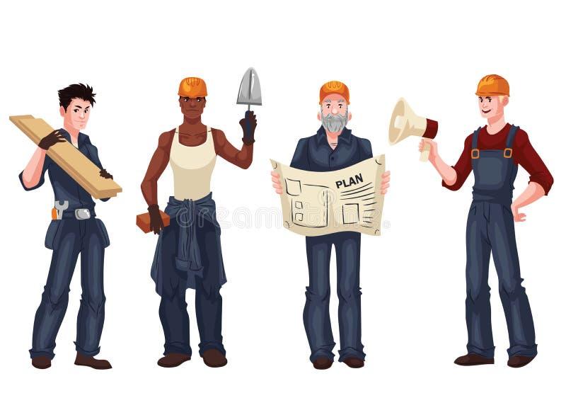 Σύνολο βιομηχανικών εργατών - επιστάτης, οικοδόμος, πλινθοκτίστης, αρχιτέκτονας ελεύθερη απεικόνιση δικαιώματος