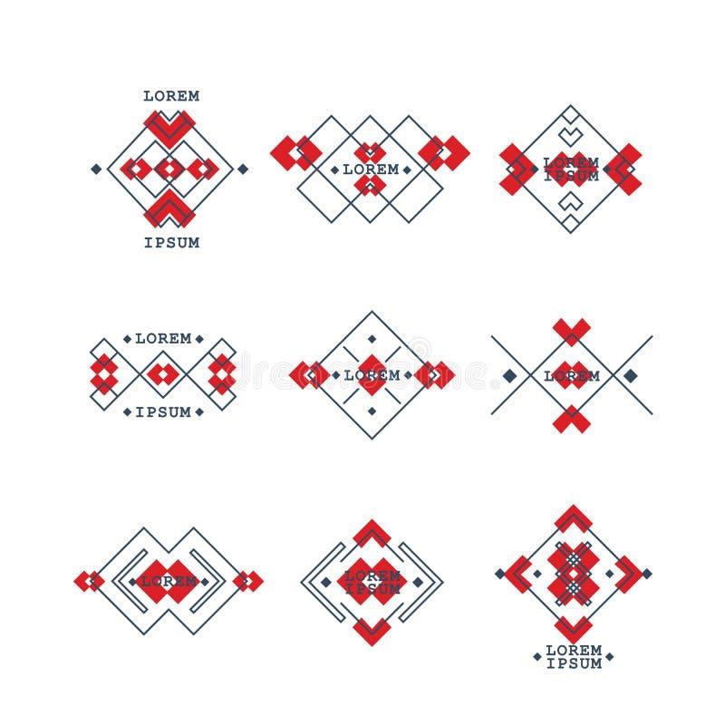 Σύνολο Βοημίας γεωμετρικών συμβόλων ύφους Εθνικά φυλετικά στοιχεία συλλογής στο σχέδιο boho διανυσματική απεικόνιση