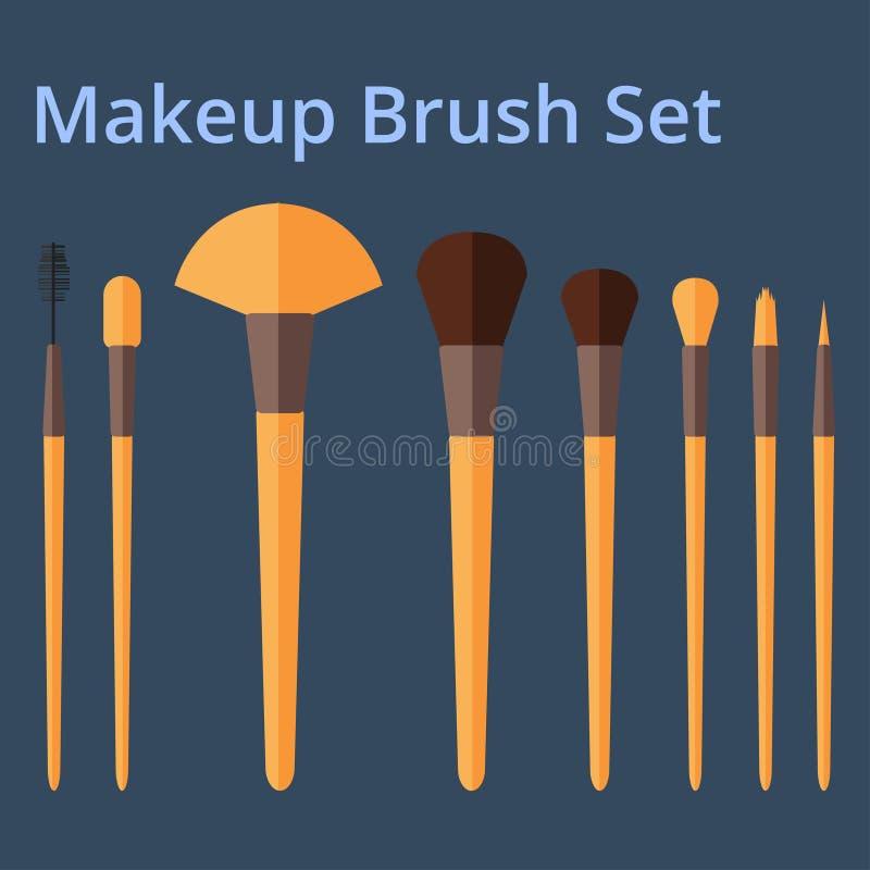 Σύνολο βουρτσών Makeup διανυσματική απεικόνιση
