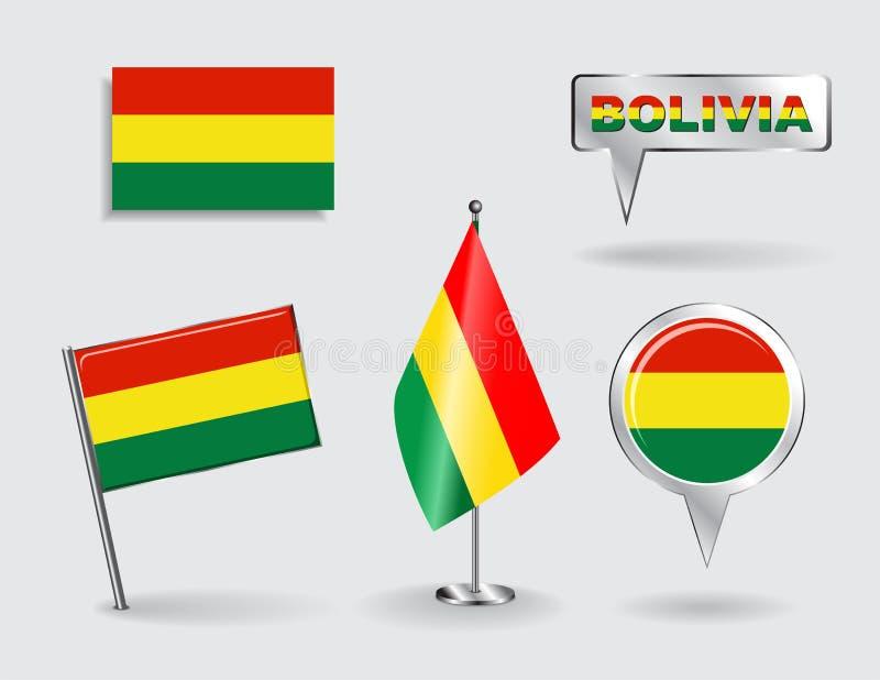 Σύνολο βολιβιανών σημαιών δεικτών καρφιτσών, εικονιδίων και χαρτών διανυσματική απεικόνιση