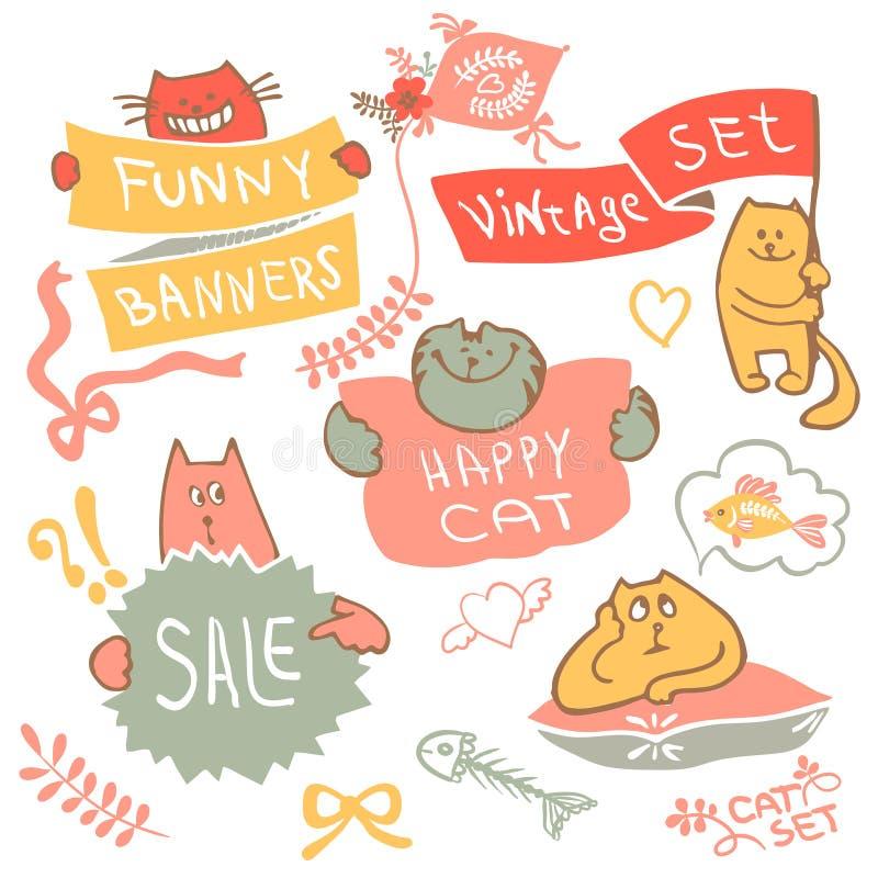 Σύνολο γάτας σχεδίων χεριών με το διάνυσμα λογότυπων εμβλημάτων ελεύθερη απεικόνιση δικαιώματος