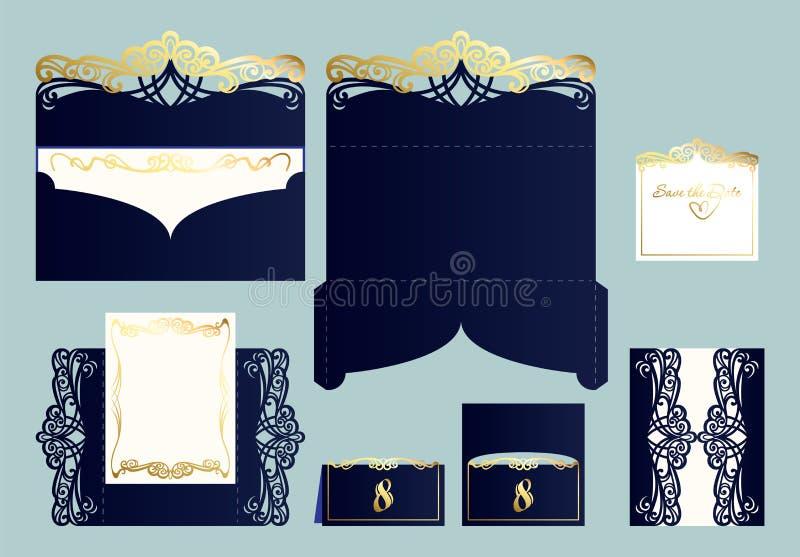 Σύνολο γαμήλιας πρόσκλησης ή ευχετήριας κάρτας με τη χρυσή διακόσμηση στοκ εικόνες
