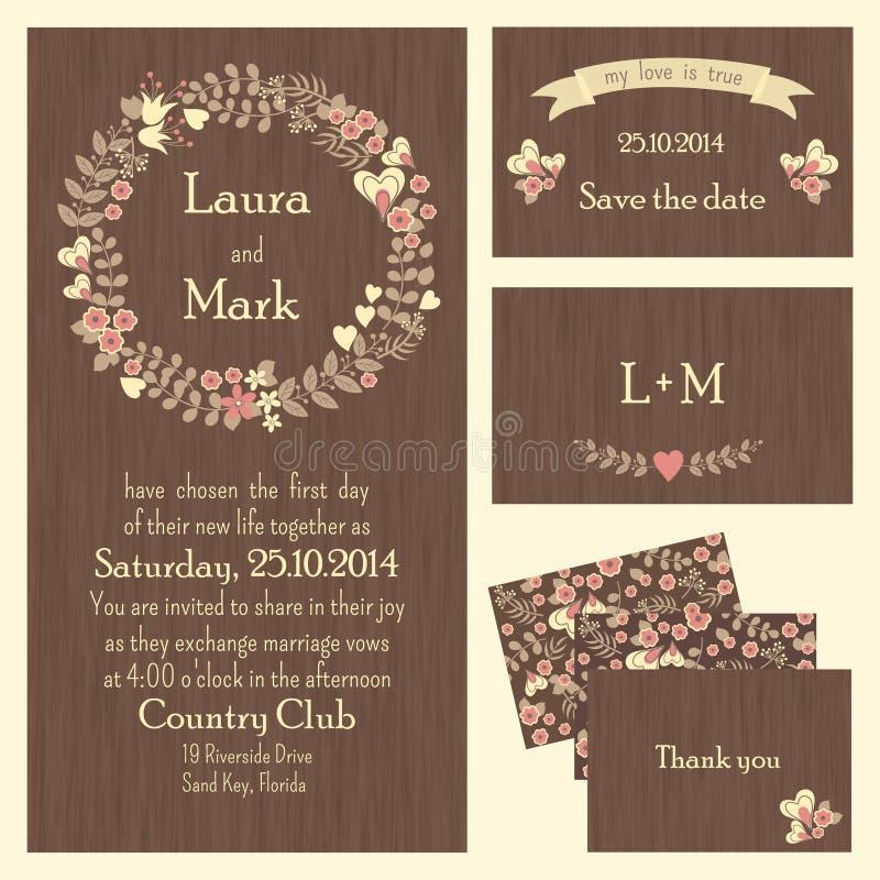 Σύνολο γαμήλιων καρτών ή προσκλήσεων διανυσματική απεικόνιση