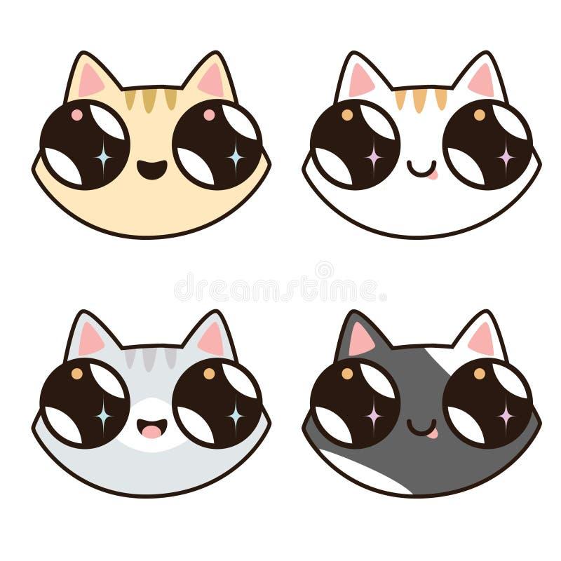 Σύνολο 4 γατών Kawaii 4 πρόσωπα γατών απεικόνιση αποθεμάτων