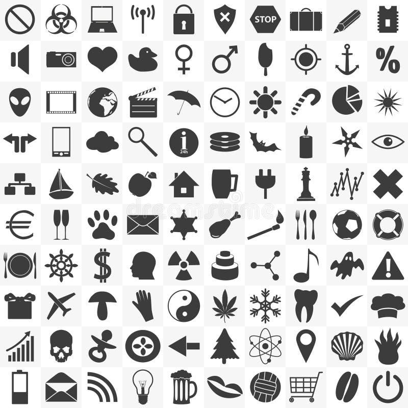Σύνολο 100 γενικών διάφορων εικονιδίων για τη χρήση σας διανυσματική απεικόνιση