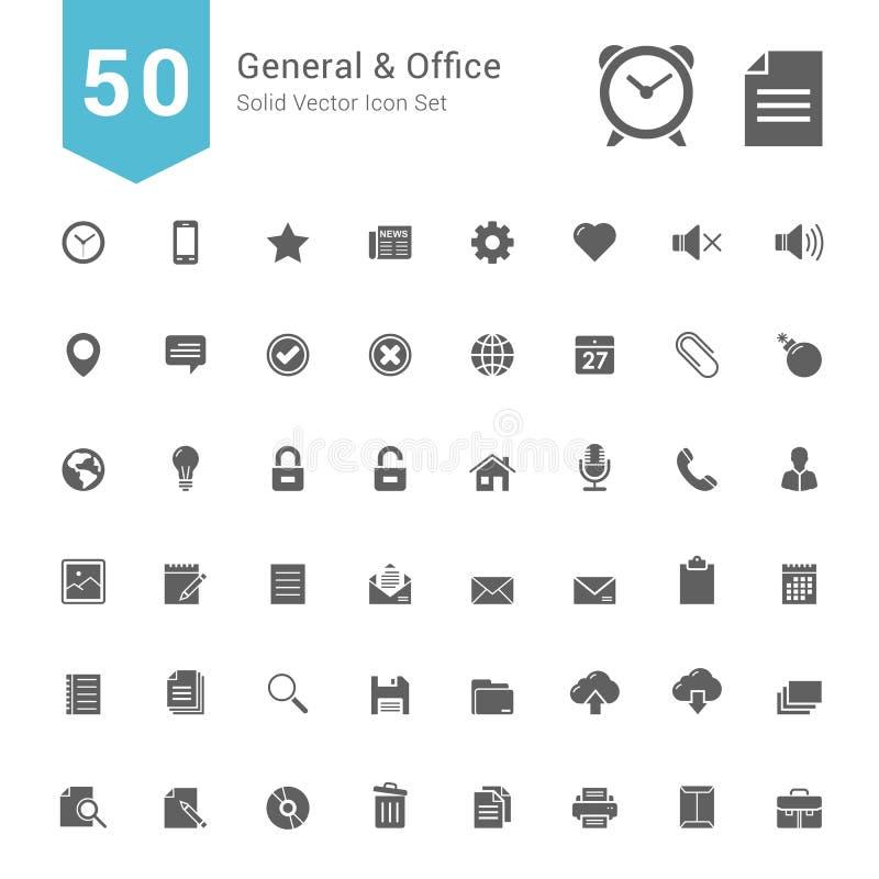 Σύνολο γενικών και εικονιδίων γραφείων 50 στερεά διανυσματικά εικονίδια ελεύθερη απεικόνιση δικαιώματος