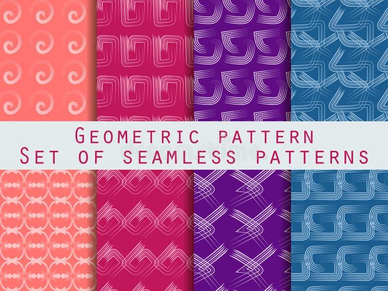 Σύνολο γεωμετρικών άνευ ραφής προτύπων Μπλε, πορφυρό, και χρώμα ροδάκινων απεικόνιση αποθεμάτων