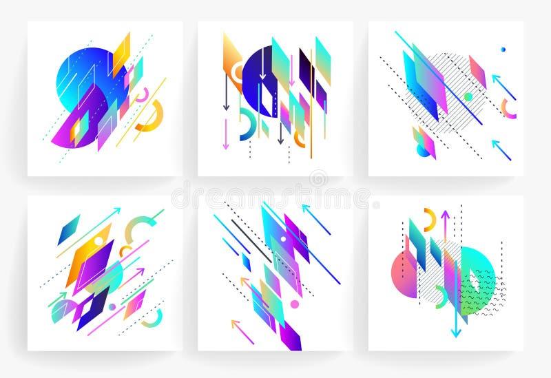 Σύνολο γεωμετρικών αφηρημένων ζωηρόχρωμων ιπτάμενων διανυσματική απεικόνιση
