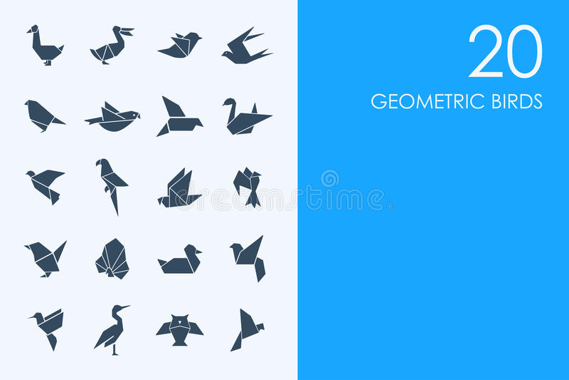 Σύνολο γεωμετρικών εικονιδίων πουλιών ελεύθερη απεικόνιση δικαιώματος