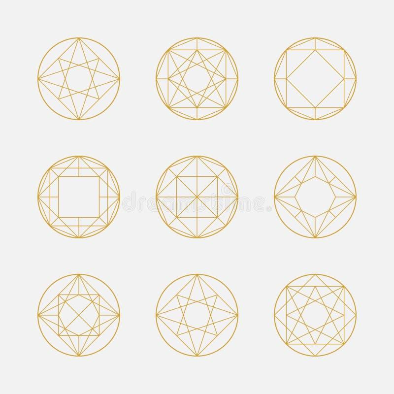 Σύνολο γεωμετρικών μορφών, τετραγώνων και κύκλων, σχέδιο γραμμών, διανυσματική απεικόνιση
