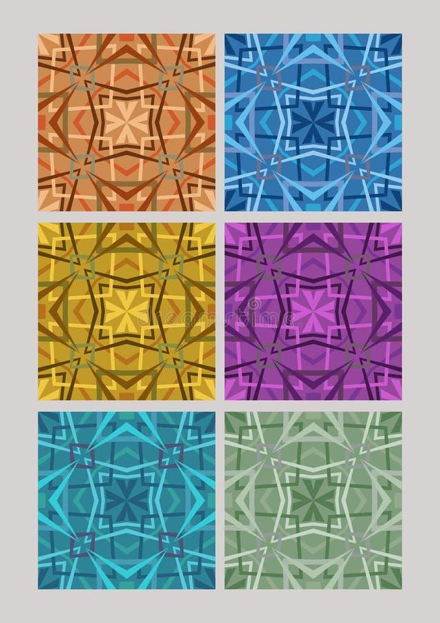 Σύνολο γεωμετρικών σχεδίων κυβιστών, κεραμίδια στις διαφορετικές παραλλαγές χρώματος, πορτοκάλι, μπλε, κίτρινος, πορφυρός, πράσιν ελεύθερη απεικόνιση δικαιώματος