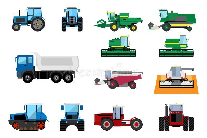 Σύνολο γεωργικών μηχανημάτων διανυσματική απεικόνιση