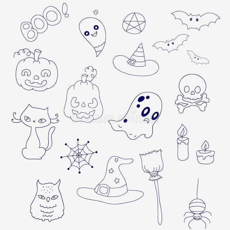 Σύνολο για αποκριές στο ύφος doodle Φαντάσματα, κολοκύθες και καπέλα απεικόνιση αποθεμάτων