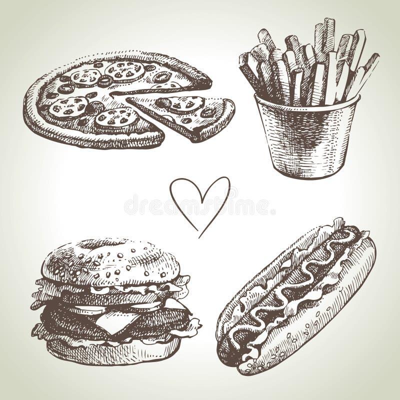 Σύνολο γρήγορου φαγητού διανυσματική απεικόνιση