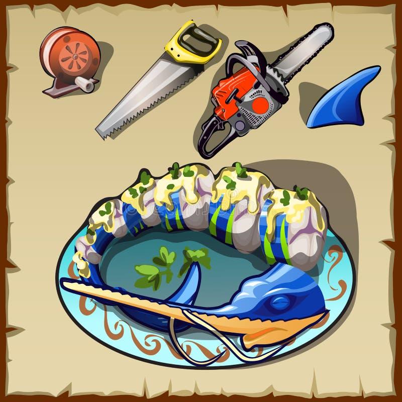 Σύνολο γραμμής αλιείας στροφίων, διάφορων πριονιών και άλλο ελεύθερη απεικόνιση δικαιώματος