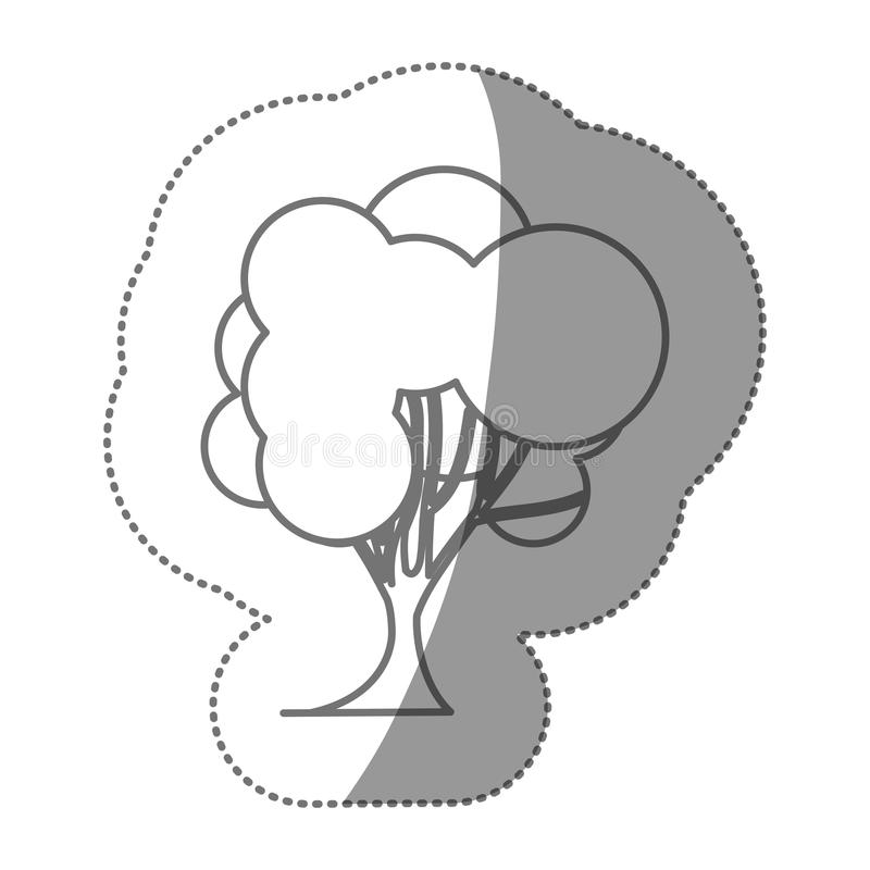 σύνολο γραμματοσήμων αριθμού αφηρημένου εικονιδίου δέντρων διανυσματική απεικόνιση