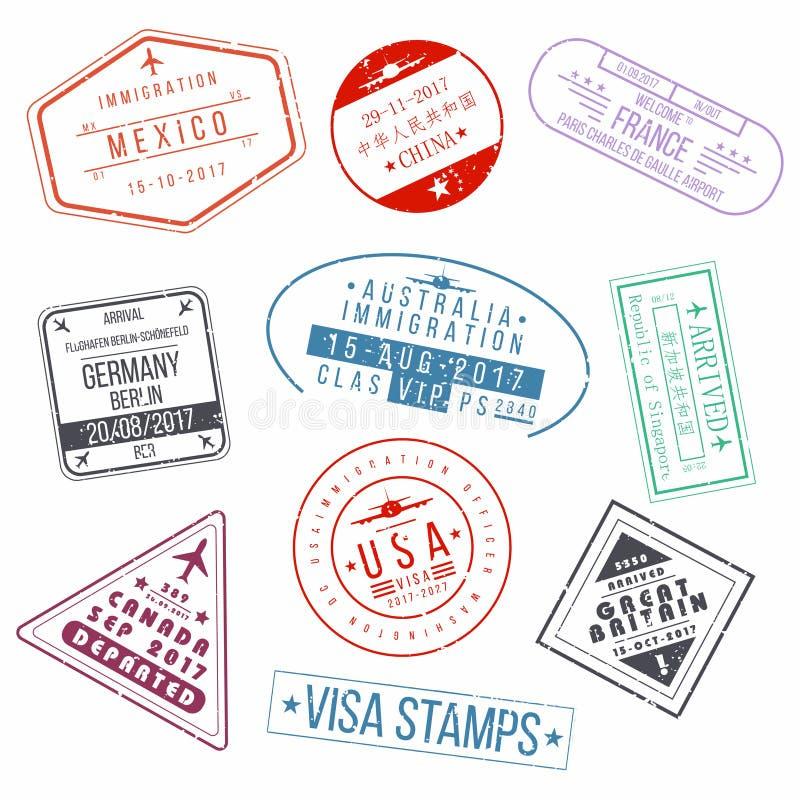 Σύνολο γραμματοσήμων διαβατηρίων θεωρήσεων Διεθνείς σφραγίδες σημαδιών αφίξεων ελεύθερη απεικόνιση δικαιώματος