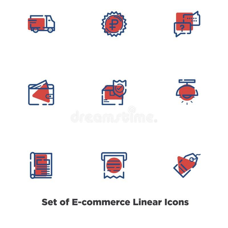 Σύνολο γραμμικών ορισμένων εικονιδίων για το ηλεκτρονικό εμπόριο απεικόνιση αποθεμάτων