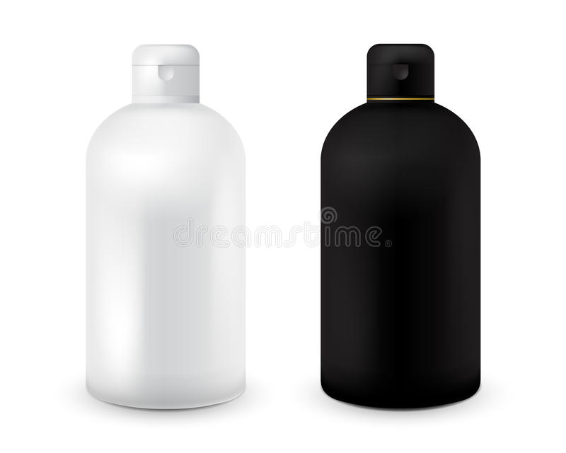 Σύνολο γραπτού πλαστικού προτύπου μπουκαλιών για το σαμπουάν, πήκτωμα ντους, λοσιόν, γάλα σωμάτων, αφρός λουτρών Έτοιμος για το σ απεικόνιση αποθεμάτων