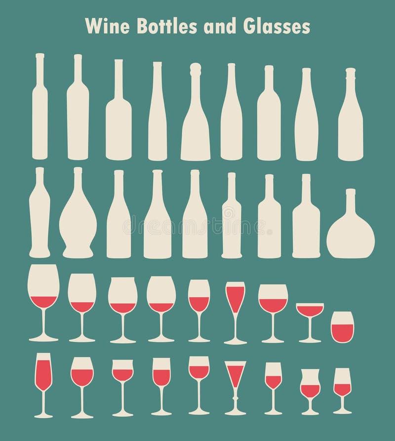 Σύνολο γυαλιών και μπουκαλιών κρασιού διανυσματική απεικόνιση
