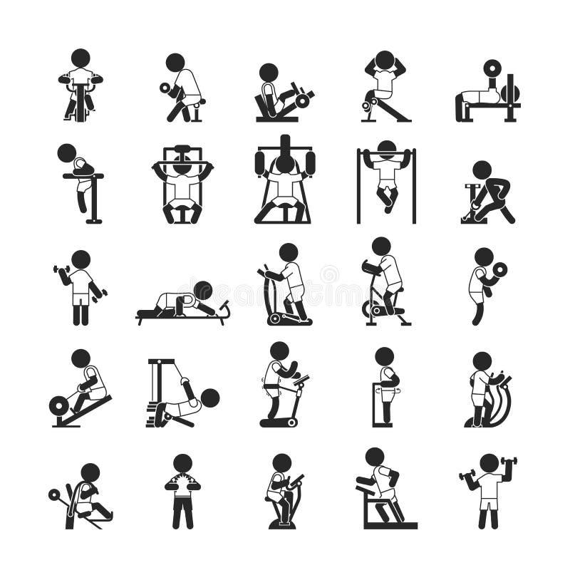 Σύνολο γυμναστικής ικανότητας, ανθρώπινα εικονίδια εικονογραμμάτων ελεύθερη απεικόνιση δικαιώματος